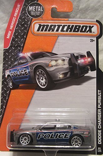 Matchbox, 2016 MBX Heroic Rescue, Dodge Charger Pursuit Police Car [Silver] #86/125 (Matchbox Dodge Charger compare prices)