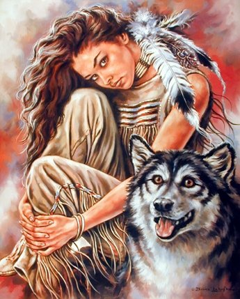 Indian Maiden and Wolf Native American Art Print Poster (16x20)