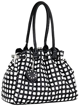 MG Collection Timeless Chic Black/White Kiss Clasp Leatherette Satchel Purse