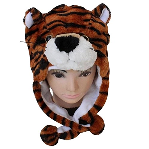 Binmer(TM)Cute Women Cartoon Animal Hat Scarf Stuffed Toys Soft Masquerades Cap(Tiger)