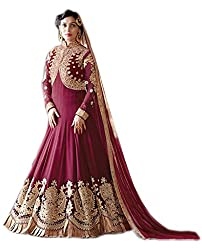 Shoppingover Indian Ethanic Anarkali Suit Georgette Fabric-Red Color