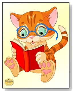 Bookworm Kitty Notebook - Perfect for any kitty lovers or for the child that wears glasses and needs a little self-esteem boost. A cute bespectacled kitty reading a book brightens the cover of this wide ruled notebook.