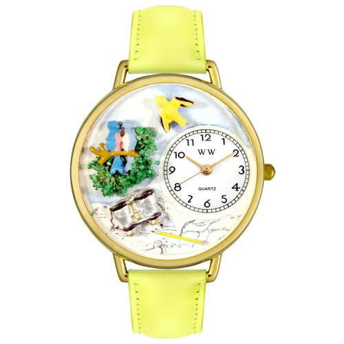 Whimsical Watches Unisex G0150014 Bird Watching Yellow Leather Watch