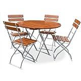 Biergartengarnitur 1x Tisch Ø90 cm & 4x Stuhl EuroLiving Edition-Classic ocker/verzinkt