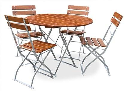 Bière de jardin 1x table Ø90cm & 4x Chaise EuroLiving Edition de Classic Ocre/galvanisé