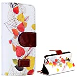 myLife (TM) White and Brown {Colorful Fall Leaves Design} Faux Leather (Card, Cash and ID Holder + Magnetic Closing) Slim Wallet for the iPhone 5C Smartphone by Apple (External Textured Synthetic Leather with Magnetic Clip + Internal Secure Snap In Hard Rubberized Bumper Holder)
