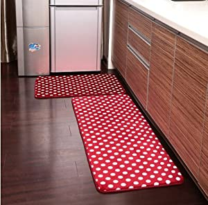 ustide 2 piece red polka dots kitchen rug set kitchen - Rug Sets