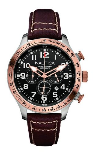 Nautica Men's Bfd 101 Chrono Watch A16593G With Black Dial And Brown Leather Strap