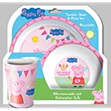 Spearmark 3-Piece Peppa Pig Tea Party Tumbler Bowl and Plate Set