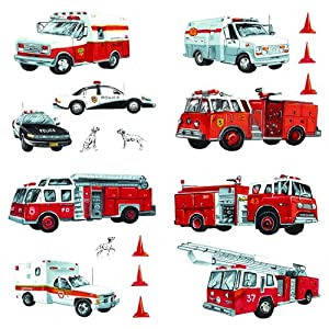 firetruck police emergency vehicles wall decals appliques