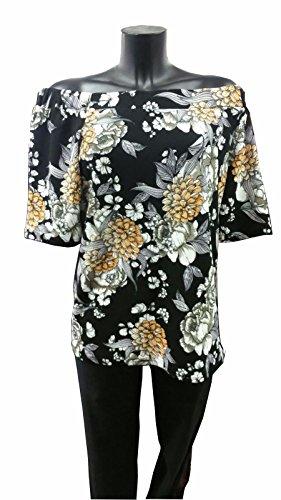 nueva-mujer-plus-tamano-floral-print-off-soldadura-mitad-manga-cintura-longitud-top-ladies-14-28