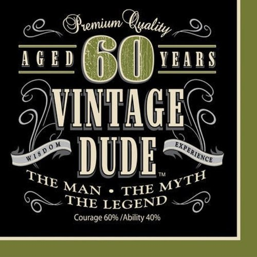 Creative Converting 16 Count Vintage Dude 60Th Birthday Lunch Napkins front-710252