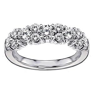 2.00 CT TW Brilliant Cut Garland Diamond Wedding Band in 14k White Gold - Size 7