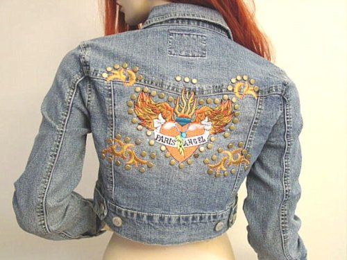 Buy Paris Angel Tattoo Design Embroidered Denim Cropped Jacket with Metal