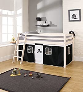 Cabin Bed Mid Sleeper Wooden Whitewash Bunk Bed with Pirate 57PIWW