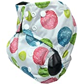 Charcoal Bamboo, Double Gusset, Pocket Diaper With 4 Layer Charcoal Bamboo Insert (Circles-Pink/Blue/Green)