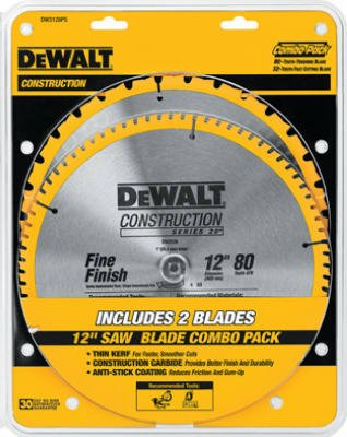 028877308944 - DEWALT DW3128P5 80 Tooth and 32T ATB Thin Kerf 12-inch Crosscutting Miter Saw Blade, 2 Pack carousel main 1