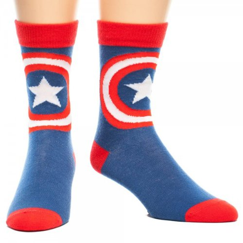 Marvel Comics CAPTAIN AMERICA Logo Blue/Red Crew SOCKS