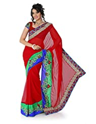 Designersareez Women Chiffon Embroidered Deep Red Saree With Unstitched Blouse(1384)