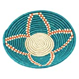 Fabulous Teal Floral Blossom Raffia Fruit or Display Basket Natural and Orange Accent