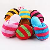Cute Puppy Dog Toy Pet Chew Play Squeaker Sound Plush Slippers Shape Toy Xmas Gift