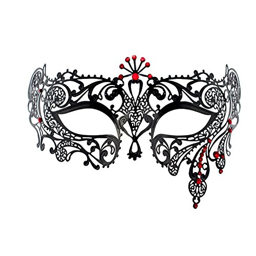 Masquerade Mask Party Mask Metal Halloween Costume Mask with Red Crystal