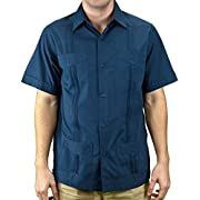 Basic Traditional Cotton Blend guayabera color navy.