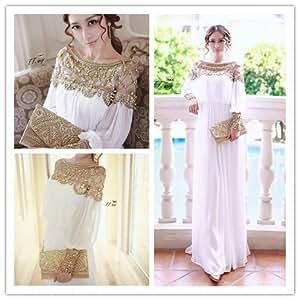 Amazon.com : White Formal Evening Dresses Vestidos Crystal Beaded 2015