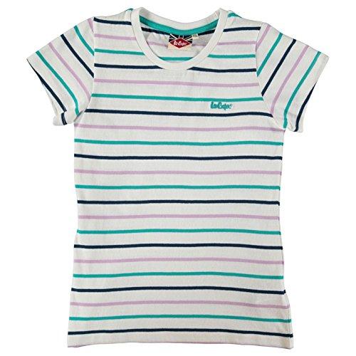 Lee Cooper bambini Pulcina Stripe girocollo T-Shirt maglietta a manica corta Tee Top Abbigliamento bianco M