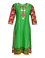 Global Women's Cotton Straight Kurta (GW53Green44015, Green, 44)