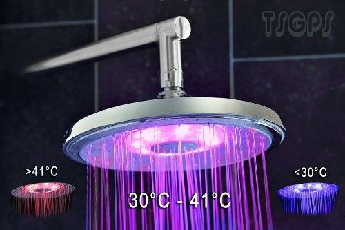 Runde Sanlingo LED Regendusche mit Farbwechsel Kein Stromanschluss notwendig.