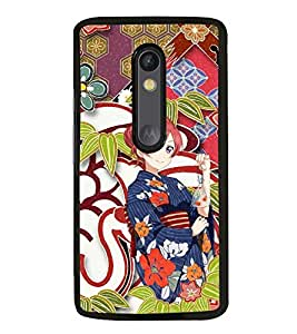 Fuson Premium 2D Back Case Cover Cute Chinese girl With red Background Degined For Motorola Moto G3::Motorola Moto G (3rd Gen)