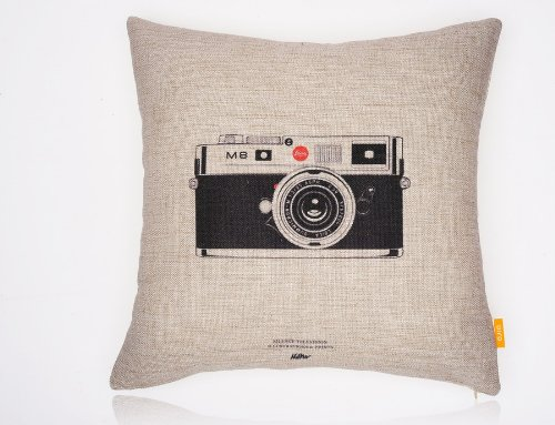 OJIA Decorative 18 x 18 Inch Cotton Blend Linen Throw Pillow Cover Cushion Case , Vintage cameras