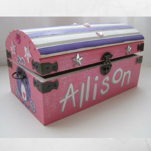 Personalized Painted Wooden Princess Jewel Sparkly Treasure Toy Chest Keepsake Box- 9 inch x 5 inch x 5 inch Medium Sized with Latch and Custom Color Choices