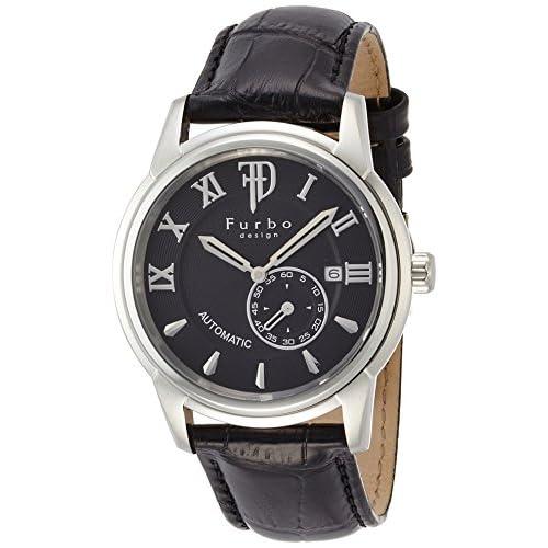 [フルボデザイン]Furbo design 腕時計 自動巻き F9012 ブラック文字盤 黒革 靴磨きギフトセット付き F9012BKセット メンズ