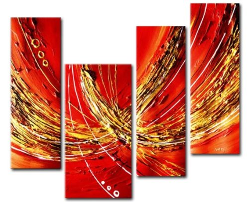 Sangu Wood Framed Trapeze Of Color Abstract Home Decoration Modern Oil Painting Gift On Canvas 4-Piece Art Wall Decor