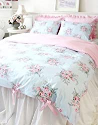 Shabby and Elegant Blue Rose/pink Gingham 3pc Bedding Set, Twin size