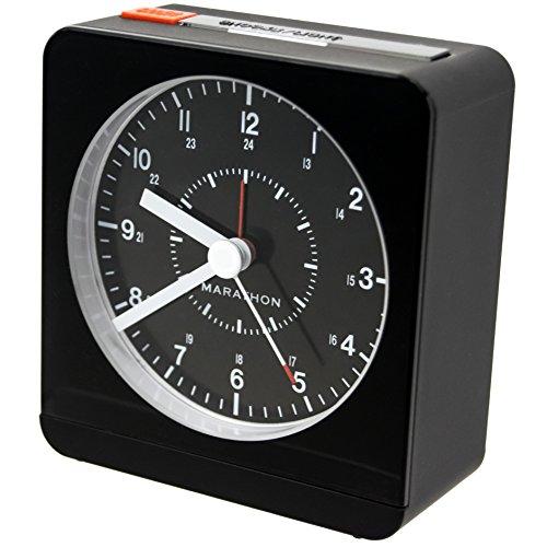 marathon cl030053bk analog desk alarm clock with auto night light batteries included. Black Bedroom Furniture Sets. Home Design Ideas