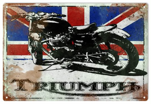 Vintage Looking Triumph Motorcycle With British Flag Reproduction Sign 0