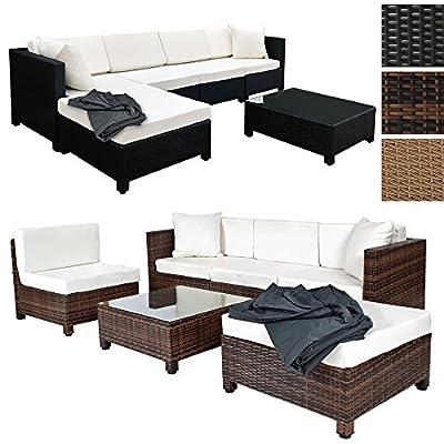 TecTake Hochwertige Aluminium Luxus Lounge mit 2 Bezugssets Poly-Rattan Sitzgruppe Sofa Rattanmöbel Gartenmöbel - diverse Farben - von TecTake auf Gartenmöbel von Du und Dein Garten