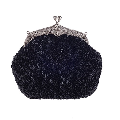 Tina Women's Sequins Beaded Kissing Lock Chain Strap Evening Cocktail Purse Clutch Black