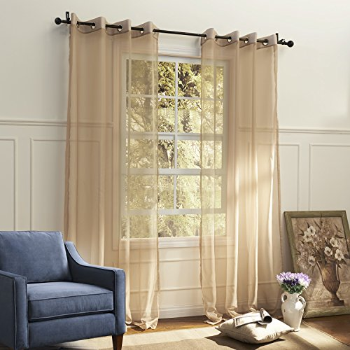 Lightinthebox (One Panel Grommet Top) Country Elegant Beige Solid Eco-Friendly Sheer Curtain Window Curtains Panels front-897836