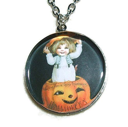 [GIRL INSIDE PUMPKIN Halloween Pendant Necklace Vintage Postcard Image] (Trick Or Treat Costumes Images)