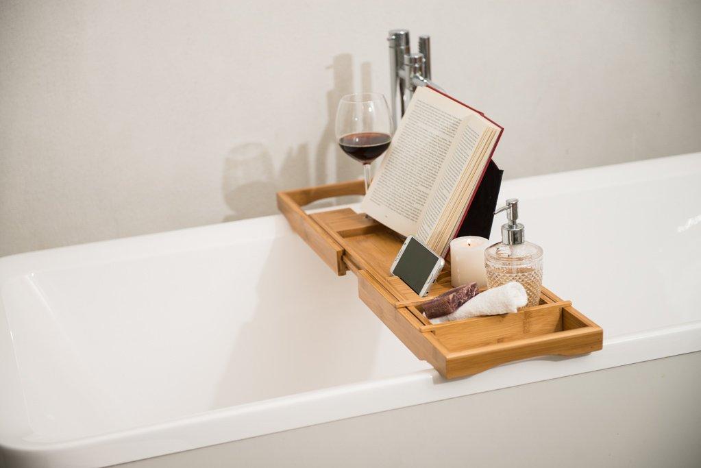 Royal Casa Luxury Bamboo Bathtub Caddy Wooden Shower Bath