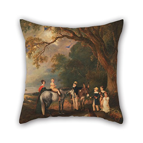 Alphadecor Oil Painting John Ferneley - Miss Catherine Herrick With Her Nieces And Nephews, The Five Elder Children Of The Rev. And Mrs. Hen Pillowcase 20 X 20 Inches / 50 By 50 Cm Gift Or Decor Fo (Mrs Lincoln Rival compare prices)
