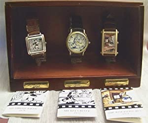 Fossil Disney Classic Films Watches Set of Three : Mickey, Donald, Goofy Wristwatches in Display Case