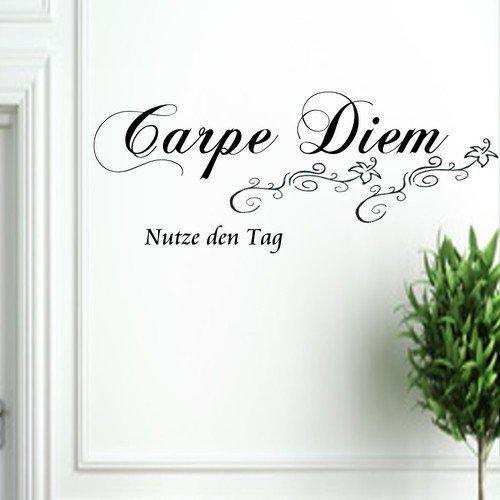 carpe diem nutze den tag wandtattoo wandspruch wandsticker wohnzimmer schlafzimmer usw 118cm x. Black Bedroom Furniture Sets. Home Design Ideas