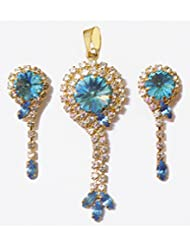DollsofIndia White And Blue Stone Studded Pendant And Dangle Earrings - Metal - Blue