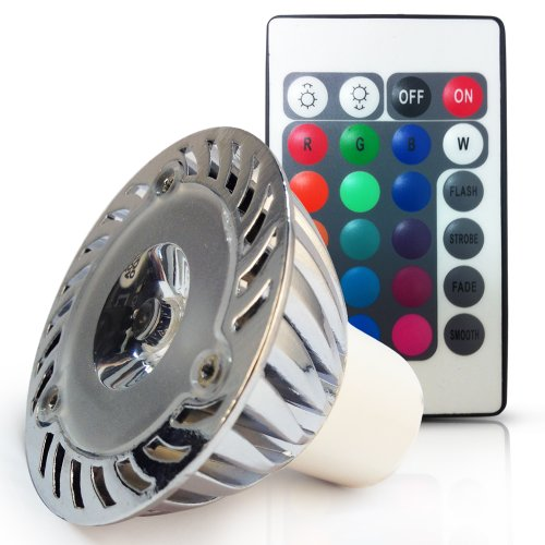 110V 3W 3-In-1 Rgb Gu10 Led Light Bulb - Color Changing Led Spotlight W/ Ir Remote, Memory Function - 38 Degree Beam Angle