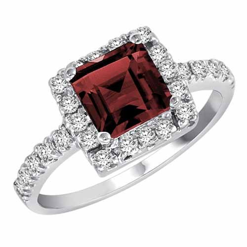 DivaDiamonds 18ct Gold Square Created Ruby and Diamond Ring